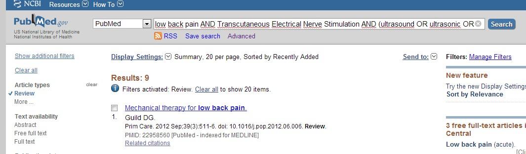 Sélectionner l'option Review permet à nouveau de réduire le nombre d'articles sélectionnés