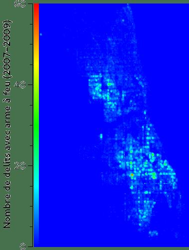 Exemple de carte des points chauds de la ville de Chicago, États-Unis.