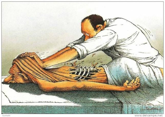 un masseur arrache la peau du dos du patient