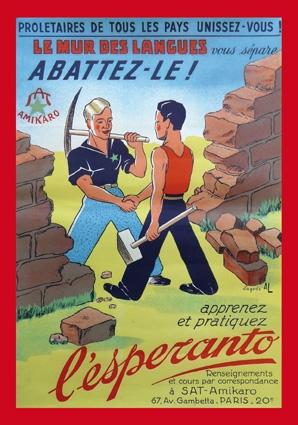 Affiche de l'association SAT-amikaro, Le mur des langues, abattez-le