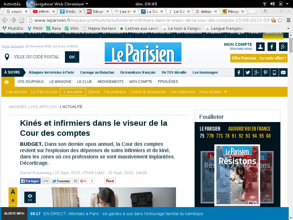 """Les médias relaient dès le 15 septembre la publication du rapport de la Cour des comptes. Le parisien sous-titre """"l'explosion des dépenses"""" et des professions """"massivement employés"""", termes à effet impact non employés dans le rapport en question."""