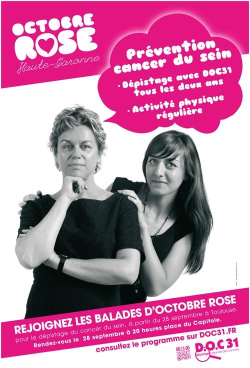 Affiche de la campagneOctobre rose 2012 de l'organisme de Dépistage organisé du cancer (DO) de Haute-Garonne