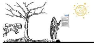 Bildo de Michael Leisen. La maljuna saĝulo turnas sin al la PLOS-planedo pro libera aliro kaj forlasas la arbon (kiu reprezentas Elsevier, unu el la plej granda kaj privata scienca eldonejo)